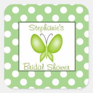 Green & White Polka Dot Butterfly Bridal Shower Square Sticker
