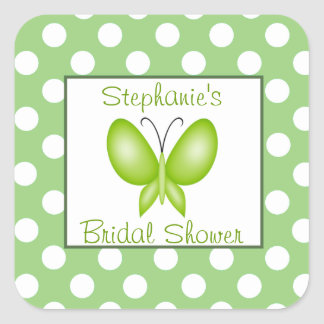 Green White Polka Dot Butterfly Bridal Shower Square Stickers