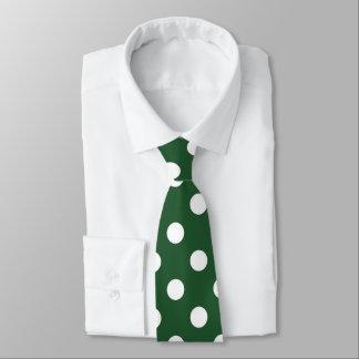 Green white polka dot pattern tie