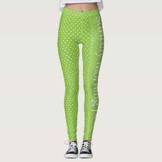 Green White Polka Dot Sunday Morning Polka Leggings