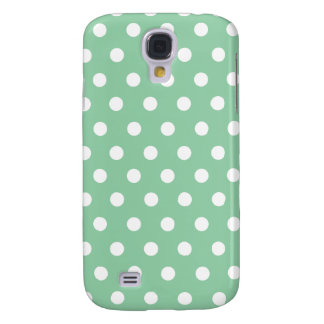 Green White Polka Dots Galaxy S4 Cases
