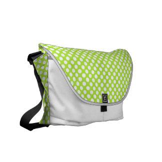 Green White Polka Dots - Messenger Bag