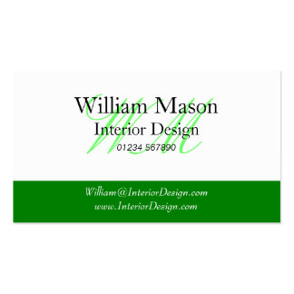 Green & White Professional Business Card