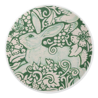Green White Rabbit Floral Folk Drawer Pull Knob