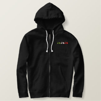 Green White & Red Embroidered scooter zip hoodie