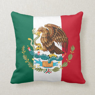 Green White & Red Mexican Flag & Coat of Arms Cushion