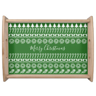 Green/White Rows Merry Christmas Font Art Pattern Serving Tray