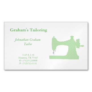 Green & White Sewing Machine Business Card Magnet