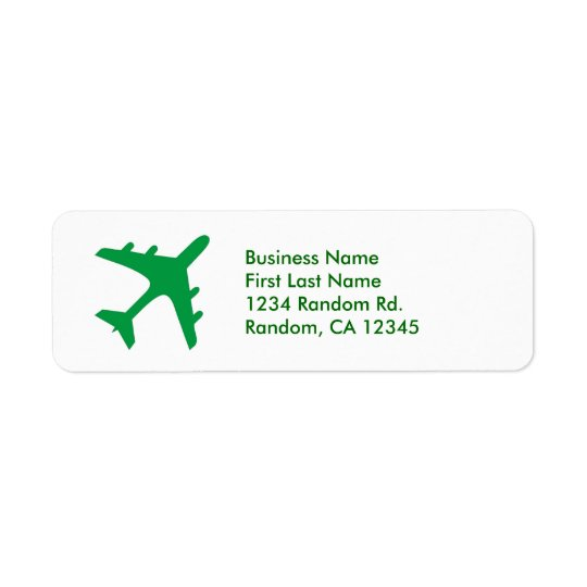 Green white simple aeroplane return address labels