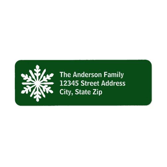 Green & White Snowflake - Address Label