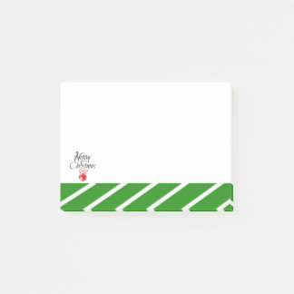Green White Stripe Merry Christmas Post-it Notes