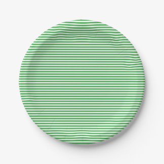 Green & White Stripes St.Patrick's Day Pattern Paper Plate