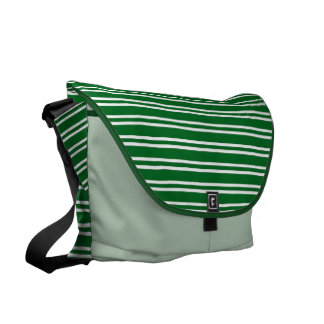 Green White Stripy Rickshaw Bag Courier Bags