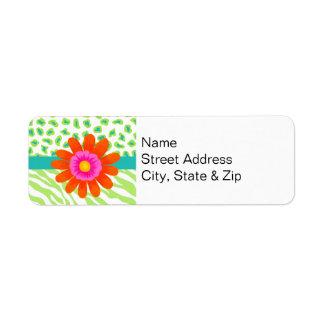 Green, White & Teal Zebra & Cheetah Orange Flower Return Address Label