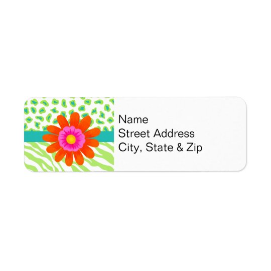 Green, White & Teal Zebra & Cheetah Orange Flower Return Address Label