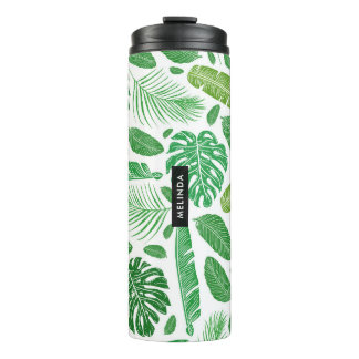 Green & White Tropical Leafs Pattern Thermal Tumbler