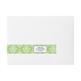 Green White Vintage Damask Pattern 1 Wraparound Address Label