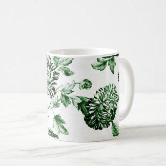 Green & White Vintage Floral Toile No.2 Coffee Mug