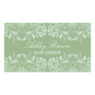 Green & White Vintage Lace Business Card