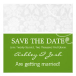 Green & White Vintage Save The Date Invites