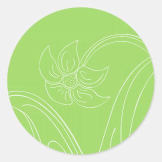 Green & White Wedding Envelope Seals or Gift Tags Round Sticker