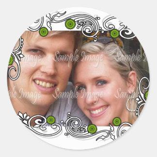 Green white wedding favor seals classic round sticker