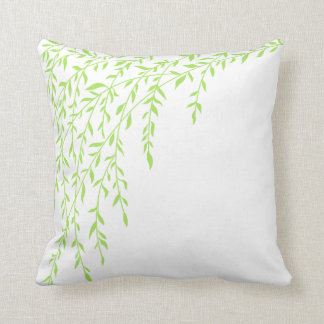Green & White Weeping Willow Tree Branches Leaves Cushion