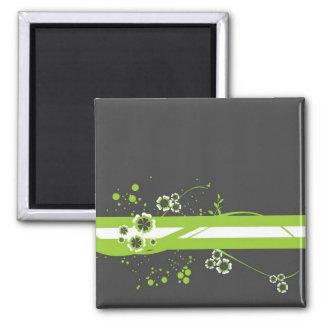Green * White Whimsy on Black Magnet