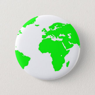 Green White World Map 6 Cm Round Badge