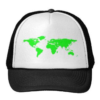 Green White World Map Cap