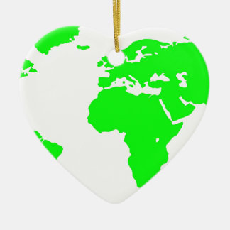 Green White World Map Ceramic Ornament