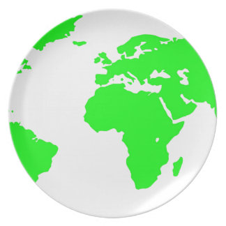 Green White World Map Plate