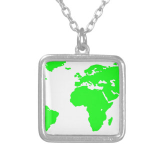 Green White World Map Silver Plated Necklace