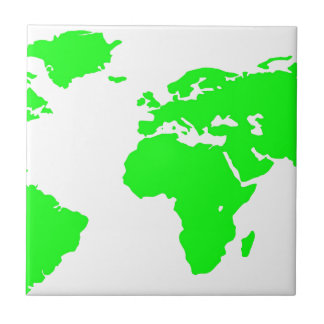 Green White World Map Small Square Tile