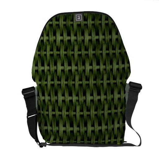 Green wicker art graphic design commuter bag