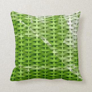 Green wicker retro graphic design throw pillow