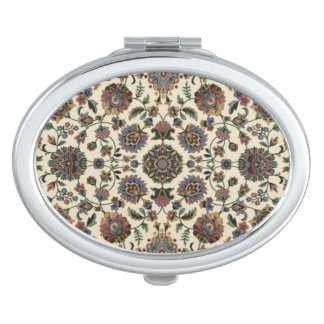 Green Wildflowers Tapestry spiral frame Compact Mirrors