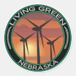 Green Wind Nebraska Round Sticker