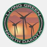 Green Wind North Dakota Round Sticker