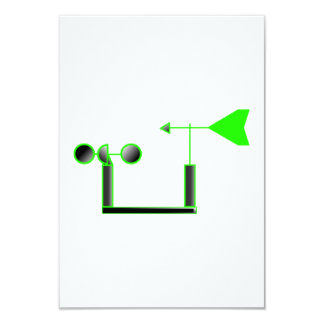 """Green Wind Speed and Weather Vane 3.5"""" X 5"""" Invitation Card"""