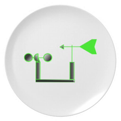 Green Wind Speed and Weather Vane Party Plates