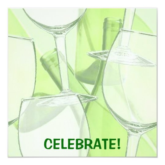 Green Wine Glass Party Invitation