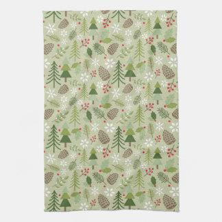 Green Winter Botanicals Illustrated Pattern Tea Towel