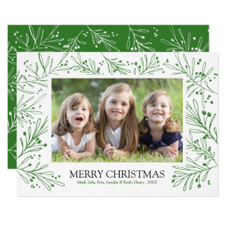 Green Winter Branches and Berries | Holiday 2017 Card