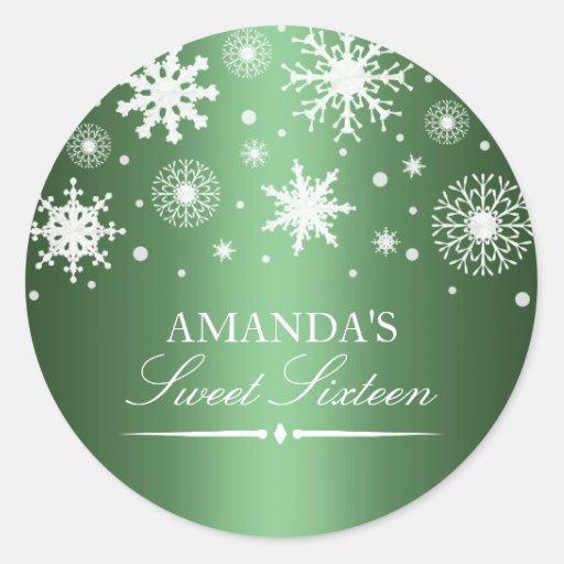 Green Winter Wonderland Sweet 16 Sticker