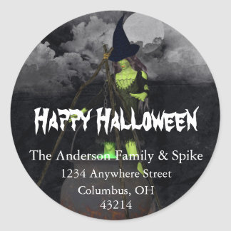 Green Witch Brewing Halloween Address Labels Round Sticker