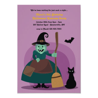 Green Witch Halloween Invitations