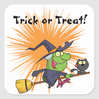 Green Witch Trick or Treat Square Sticker