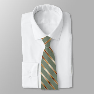 Green with Copper Diagonal Stripes Tie