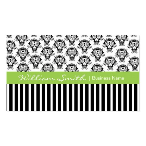 Green with damask and stripes in black business card templates